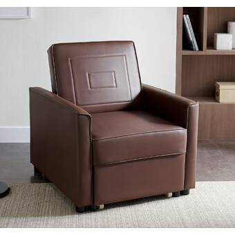 Ebern Designs Guilden 37 W Faux Leather Convertible Chair Wayfair