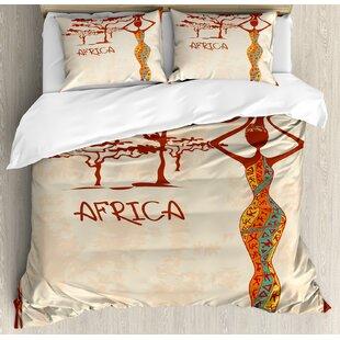 African Vintage Africa Themed Illustration Slim Indigenous Figure Colorful Dress Duvet Cover Set