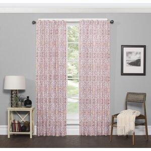 Silverado Damask Room Darkening Rod Pocket Single Curtain Panel