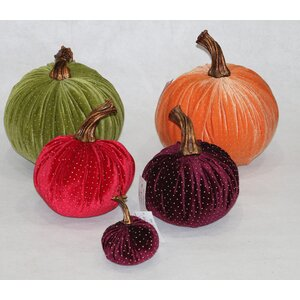 5 Piece Luscious Gold Color Beaded Accented Velvet Inflatable Pumpkin Set