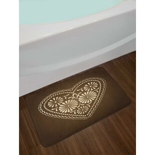 Romantic Heart Pattern with Dots and Flowers Valentines Day Art Illustration Bath Rug