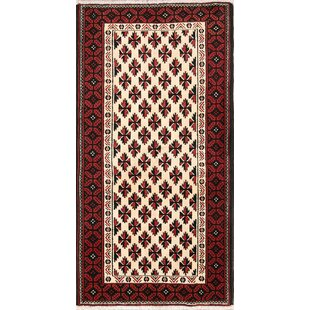 One-of-a-Kind Hegarty Balouch Geometric Persian Hand-Knotted 3'6 x 6'6 Wool Beige/Black/Red Area Rug Isabelline