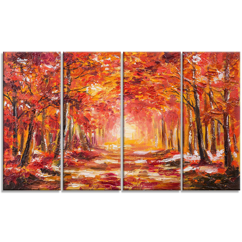 Designart Autumn Forest Shade Landscape 4 Piece Painting Print On Wrapped Canvas Set Wayfair