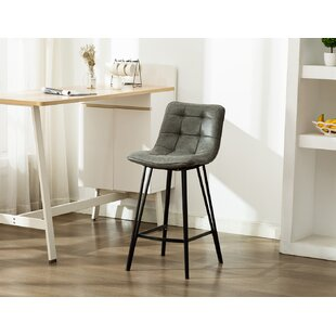 Nicolasa Leather Counter 28.3 Bar Stool (Set of 2) by Ivy Bronx