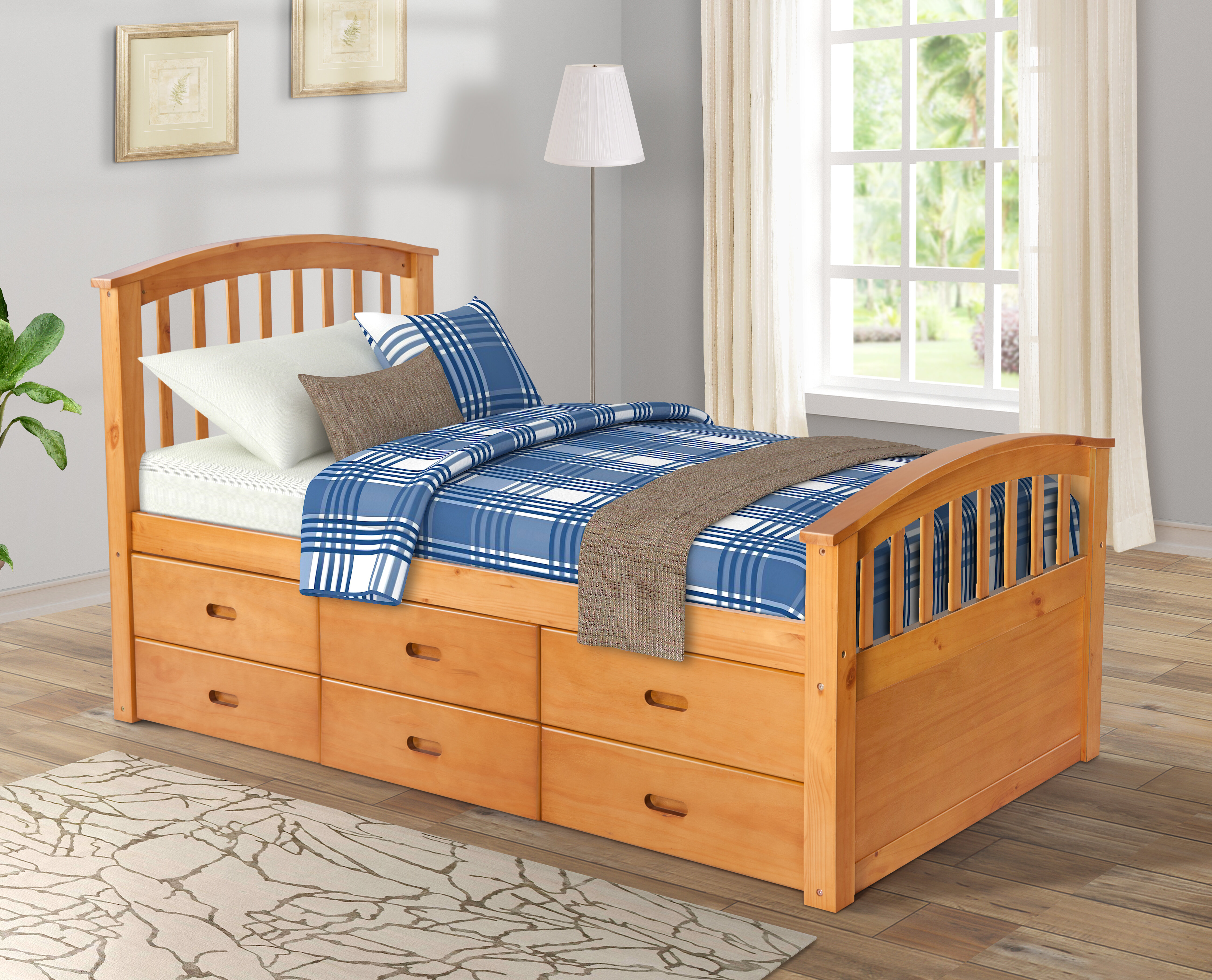 Red Barrel Studio Pamplona Solid Wood Twin Platform Bed With 6 Drawers