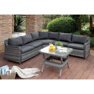 Annetta Hollister 4 piece Sectional Seating Group with Cushions