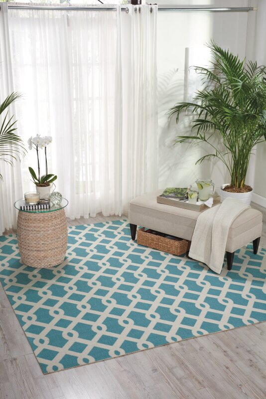 Waverly Sun N\' Shade Blue Indoor/Outdoor Area Rug & Reviews | Wayfair