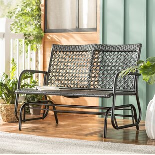 Shupe Steel Rattan Outdoor Patio Double Bench Glider by Wrought Studio