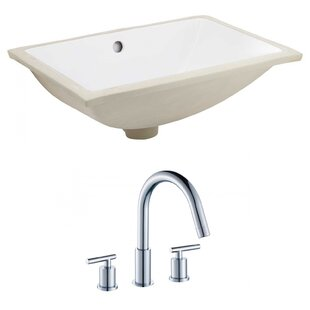 Buy clear Ceramic Rectangular Undermount Bathroom Sink with Faucet and Overflow By American Imaginations