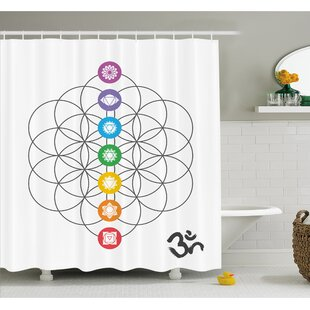 Chakra Points in Vintage Concentric Rings of Partial Circle Zen Image Shower Curtain Set