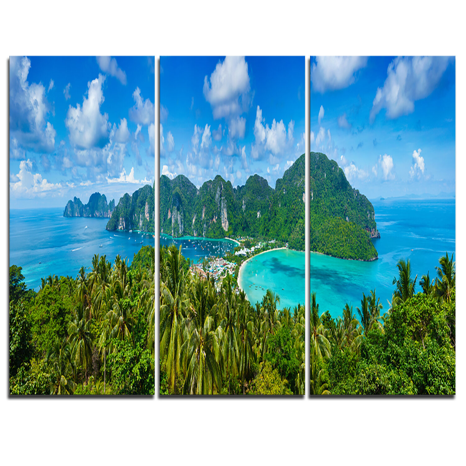 Designart Tropical Island Panorama 3 Piece Graphic Art On Wrapped Canvas Set Wayfair