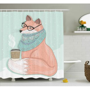 Danielle Animal Cute Hipster Fox With Glasses And Scarf Drinking Coffee  Hippie Illustration Shower Curtain