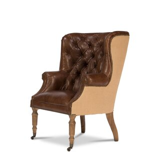 Welsh Leather and Jute Wingback Chair by Sarreid Ltd