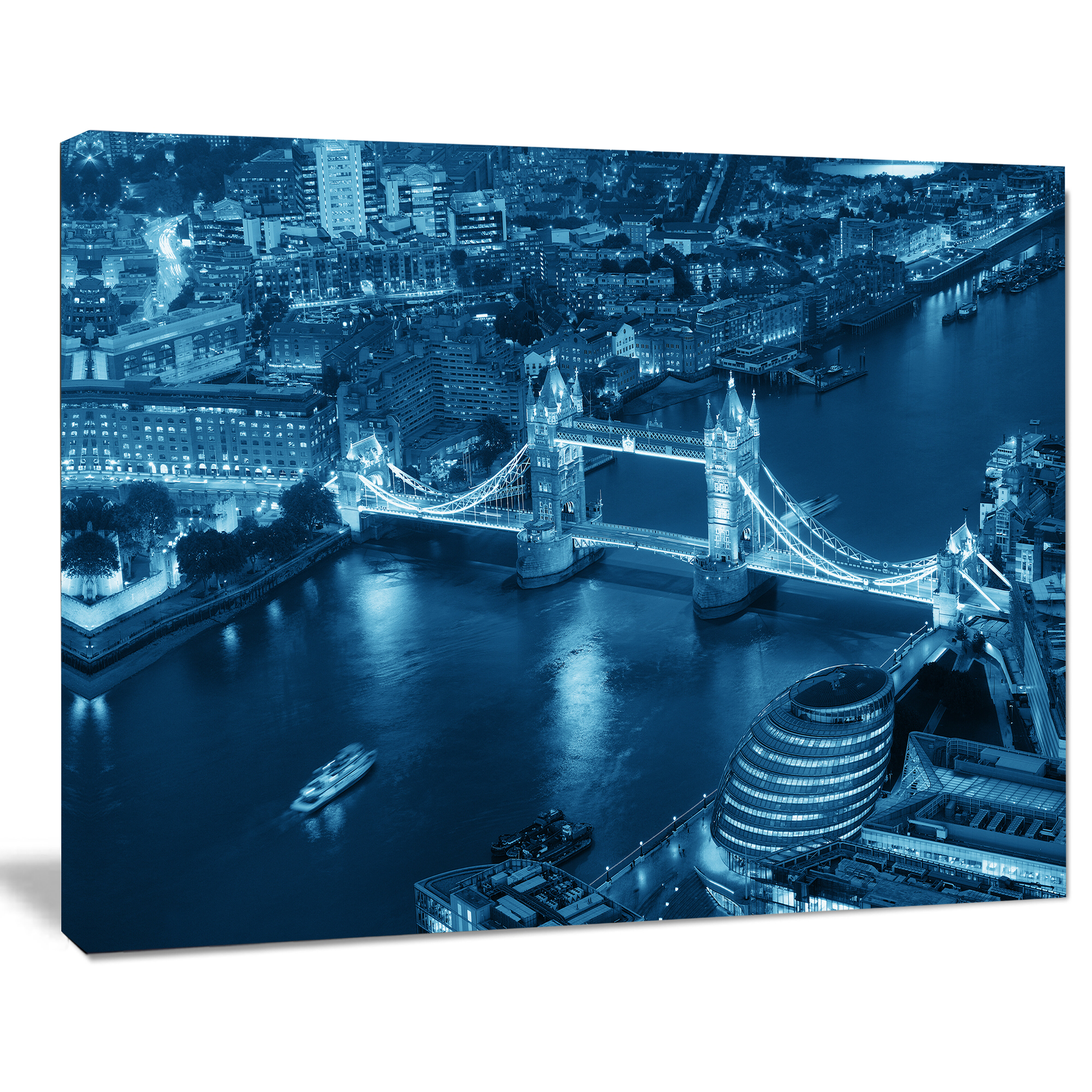 Designart Blue London Night Aerial View Cityscape Photographic Print On Wrapped Canvas Wayfair