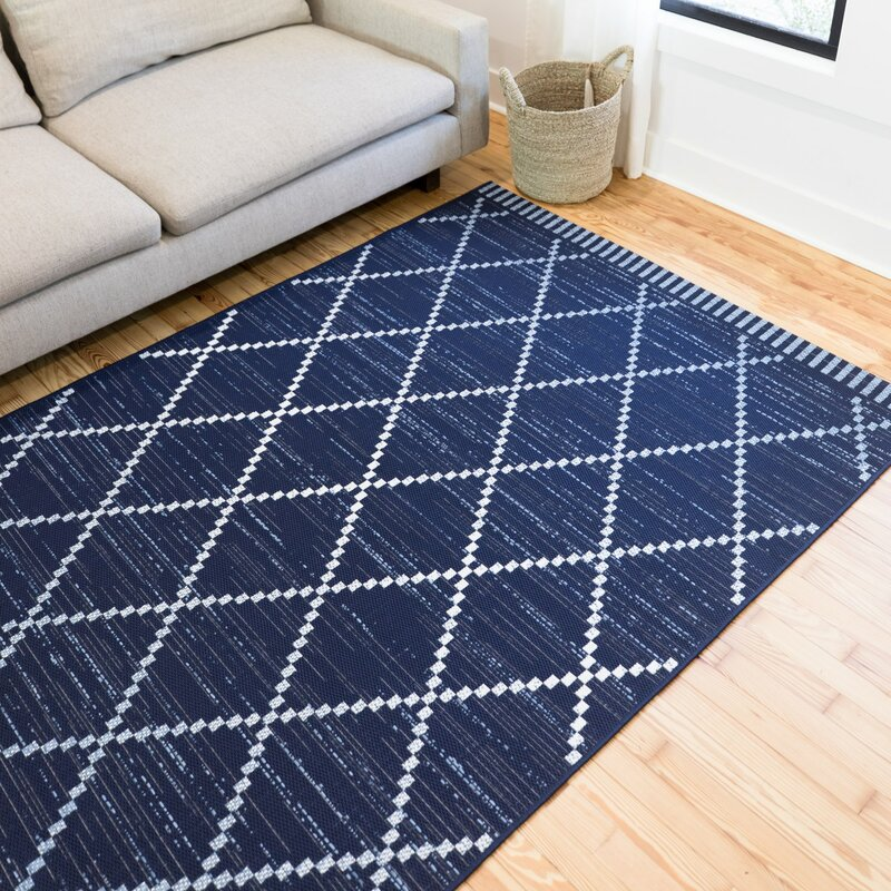 Wrought Studio Anoka Geometric Blue Indoor Outdoor Area Rug Reviews Wayfair
