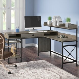 Three Posts Oakside L-Shape Computer Desk with Hutch