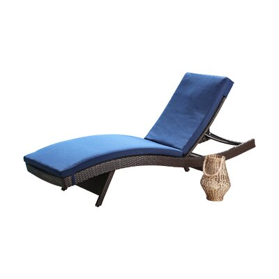Battista Outdoor Wicker Reclining Chaise Lounge with Cushion by Brayden Studio