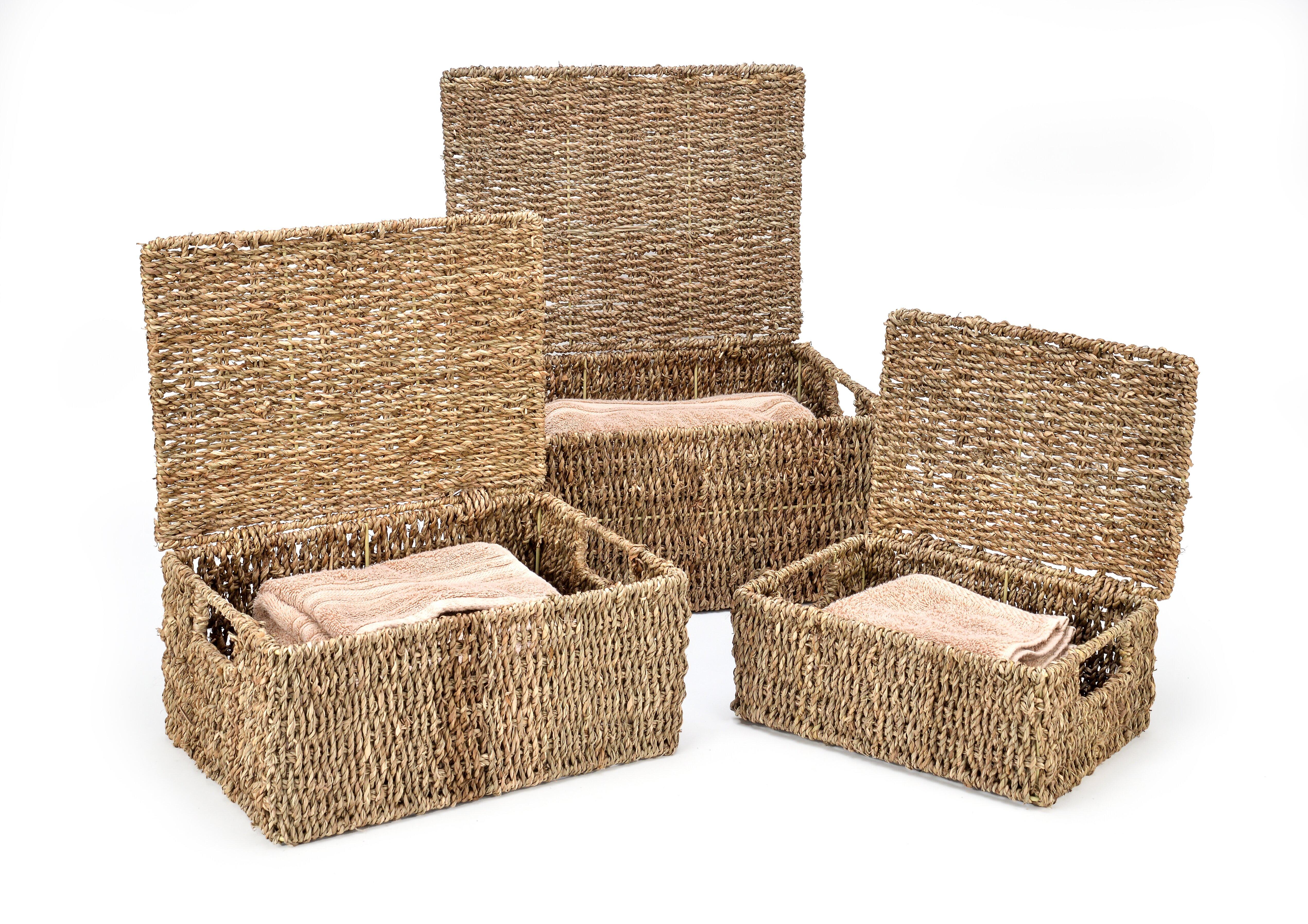 3 Piece Rectangular Seagrass Basket Set Reviews Joss Main