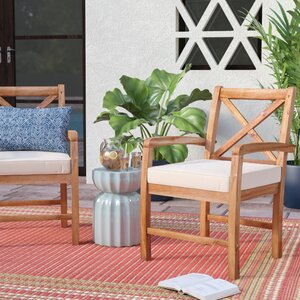 Calvert X-Back Acacia Patio Chair with Cushions (Set of 2)
