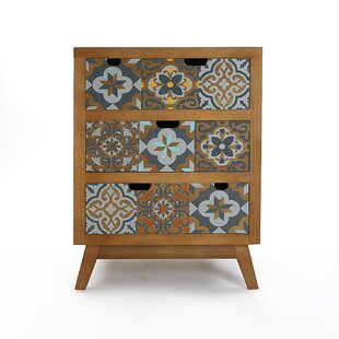 Amelkis 3 Drawer Bedside Table By World Menagerie