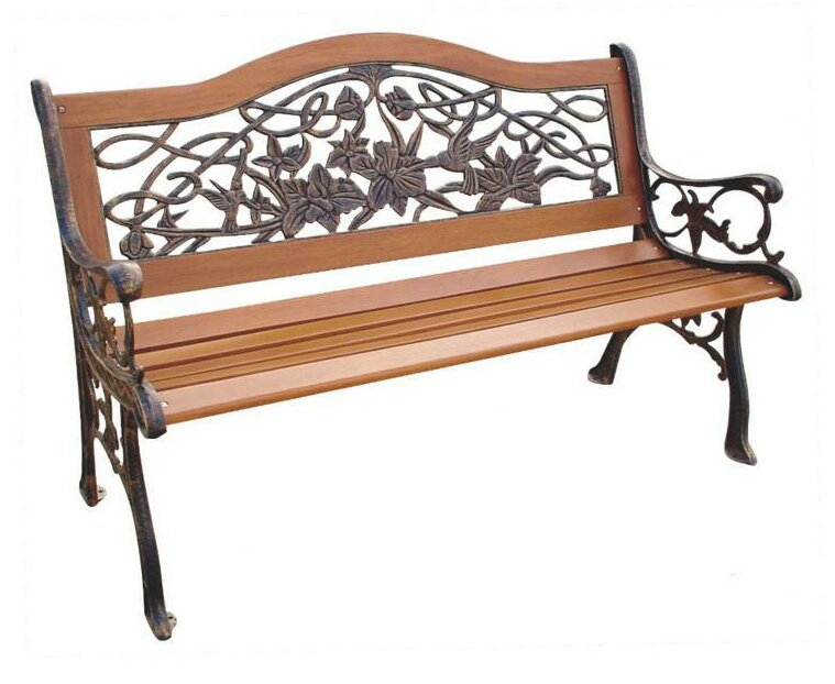 Charlton Home Streator Hummingbird Wood And Cast Iron Park Bench