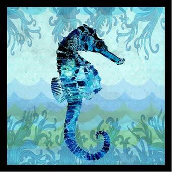 Beachcrest Home 'Ocean Seahorse - Colorful Blue Green Coastal