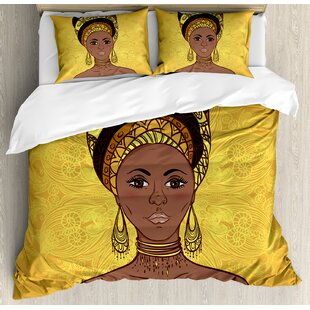 African Tribal Woman Portrait in Turban Ornate Mandala Inspired Round Motif Duvet Cover Set