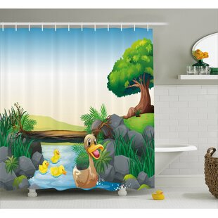 Karen Cartoon Farm Animals Lake Shower Curtain + Hooks