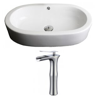 American Imaginations Transition Ceramic Oval Vessel Bathroom Sink with Faucet and Overflow