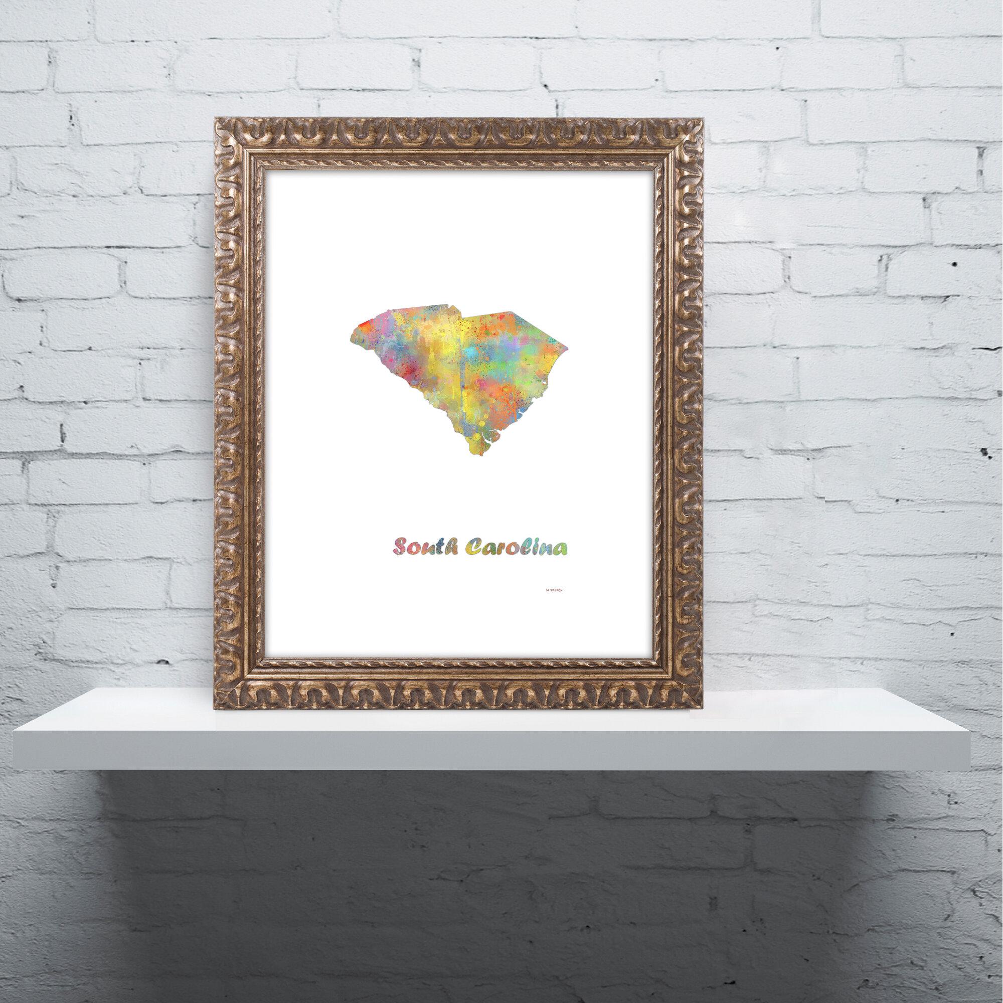 Trademark Art South Carolina State Map 1 Ornate Framed Graphic Art On Canvas Wayfair