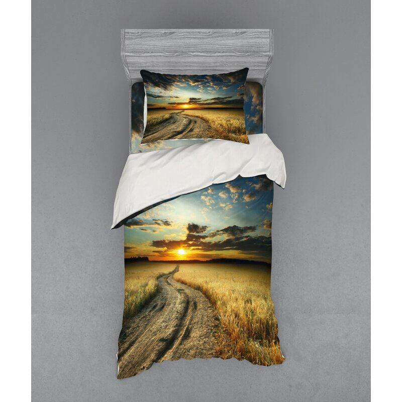 East Urban Home Nature Road In The Field With Ripe Yellow Wheat Garden Under Cloudy Sunset Sky Landscape Duvet Cover Set Wayfair