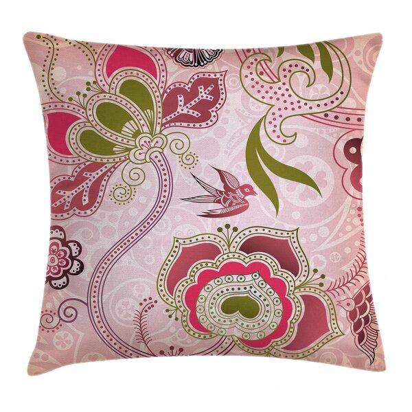 Pink Orange Reversible Soft Pillow Cover Case: Zippered Purple Floral Design