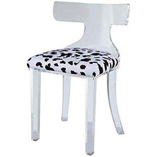 Everly Quinn Joetta Spotted Velvet Upholstered Acrylic Frame Side Chair