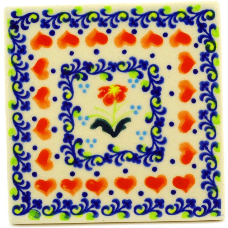 Circle Of Hearts 4 37 X Ceramic Polish Pottery Decorative Accent Tile