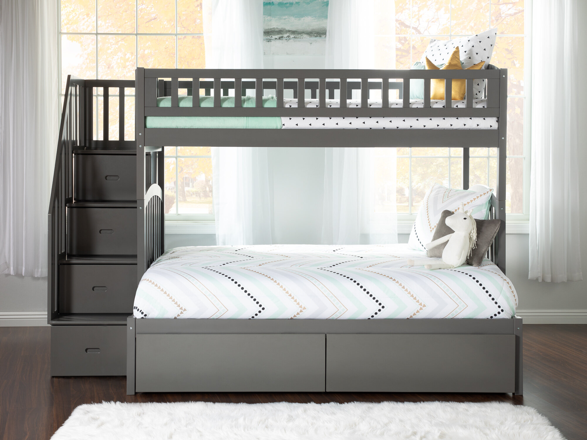 Harriet Bee Simmons Staircase Twin Over Full Bunk Bed With Drawers