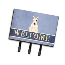Bull Terrier Welcome Leash or Key Holder by Caroline's Treasures