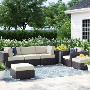 Brentwood 6 Piece Rattan Sectional Set with Cushions by Sol 72 Outdoor