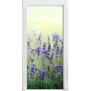 Beautiful Lavender In The Rain Door Sticker By East Urban Home