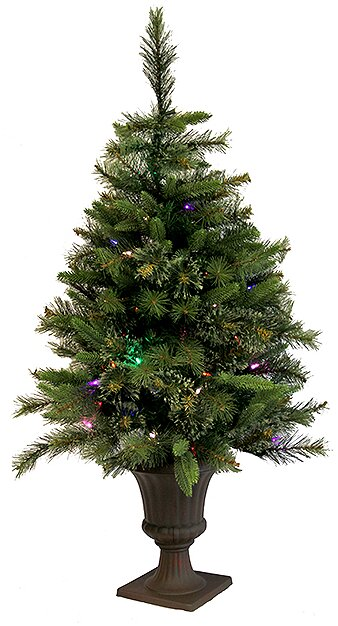 35 mixed pine cashmere potted artificial christmas tree with led multi light - Potted Artificial Christmas Trees