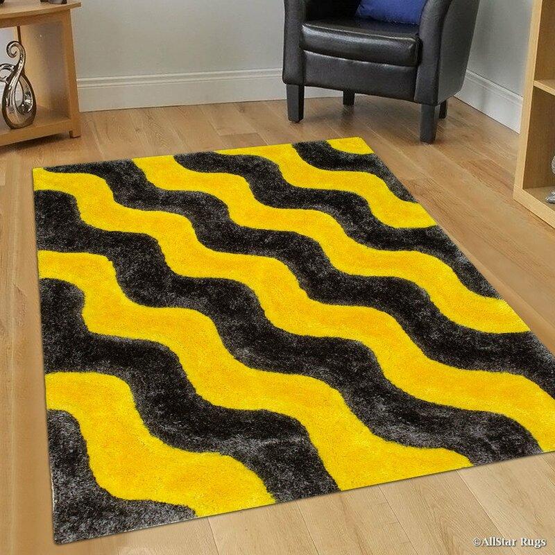 Allstar Rugs Hand Tufted Yellow Black Area Rug Wayfair