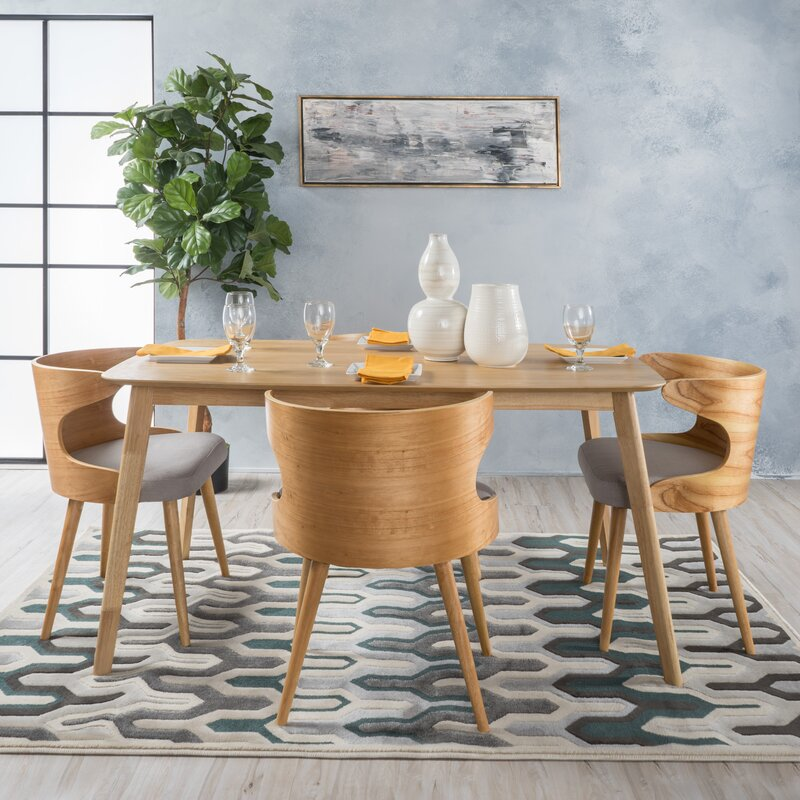 Lovely Camille 5 Piece Wood Mid Century Dining Set