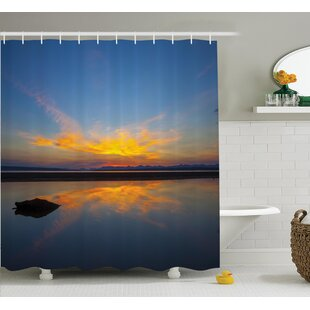 Collins National Park Sunrise on Lakeside Romantic Nature Theme Outdoor Picture Single Shower Curtain