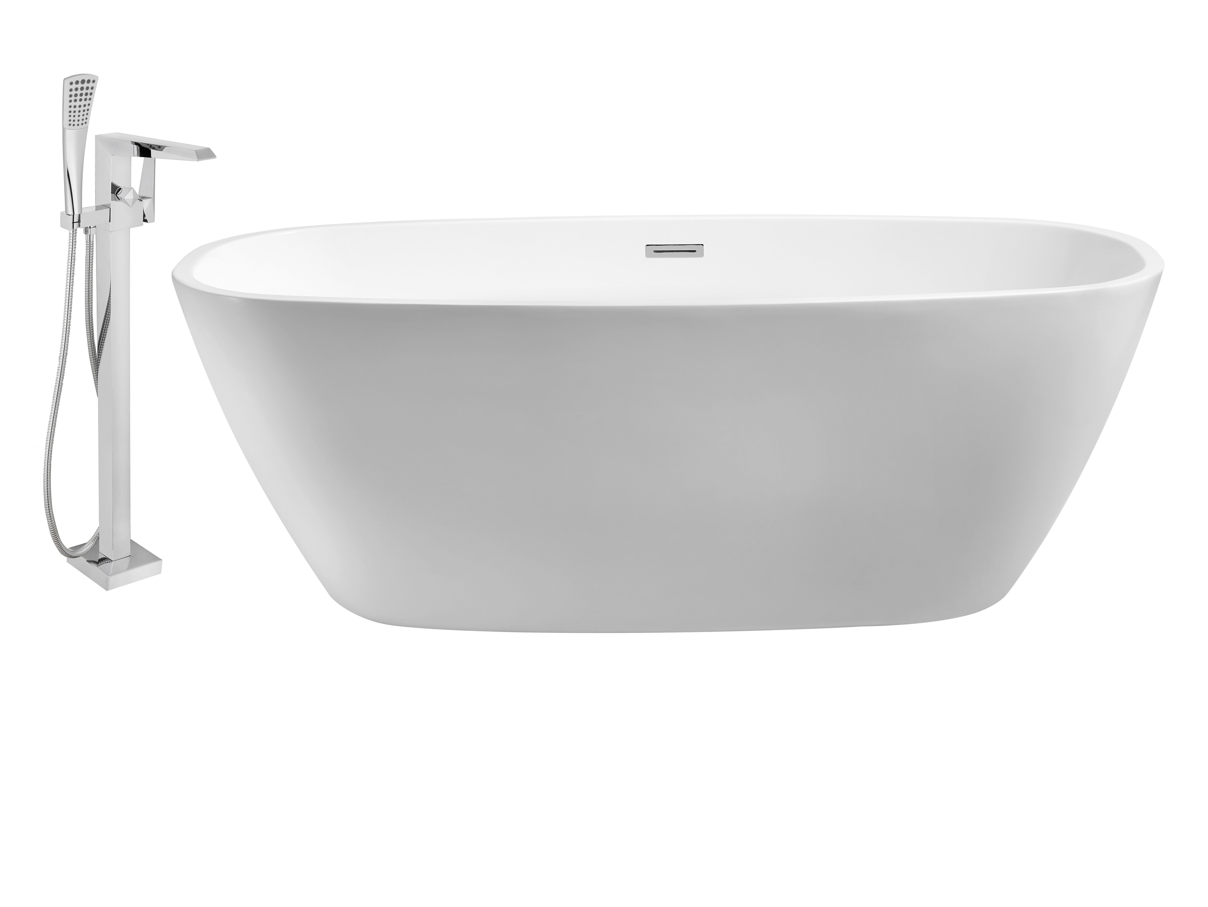 frontview freestanding chrome with white acrylic lexora inch bathtub product drain vinter