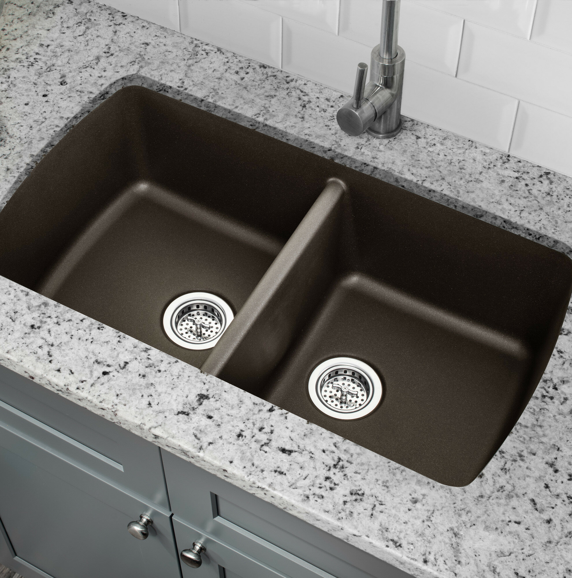 34 L X 19 W Double Basin Undermount Kitchen Sink With Drain Embly