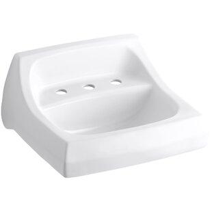 Best Kingston Ceramic 22 Wall Mount Bathroom Sink with Overflow By Kohler