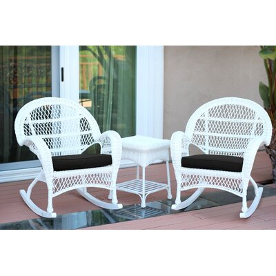 3-Piece Lalani Patio Seating Group Fabric: Black, Frame Color: White by August Grove