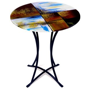 Good Places To Find Round End Table ByJasmine Art Glass On End Side - Wayfair glass side table