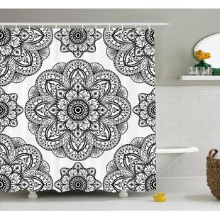 Keaney Mandala Ornate Pattern of Mandala With Symmetrical Shape and Tiles Arabesque Persian Image Single Shower Curtain