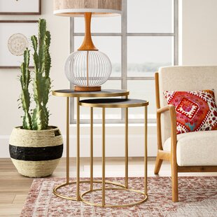 Cassandra Metal 2 Piece Nesting Tables by Mistana
