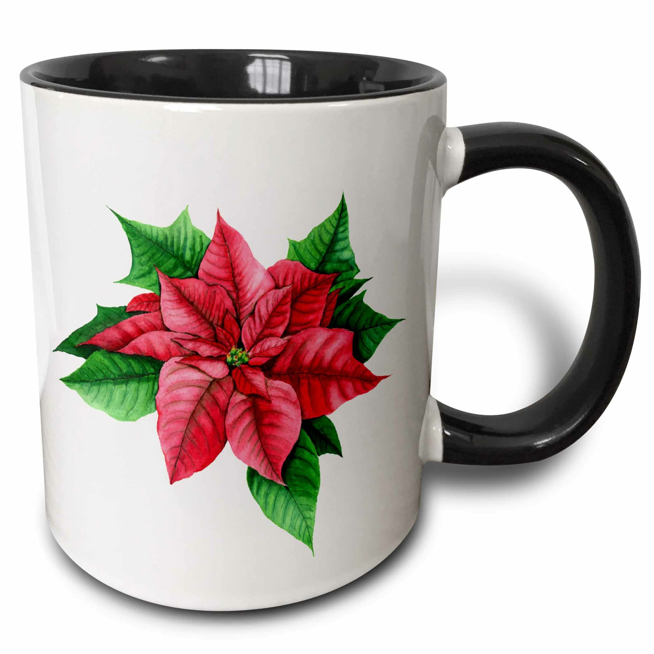 The Holiday Aisle Pretty Image Of Poinsettia Flower Illustration Coffee Mug Wayfair